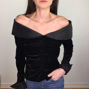 Vintage 90's Off Shoulder Black Velvet Top Shirt